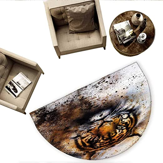 Tiger Cojín Semicircular Retrato de una Alerta y Angry Royal ...