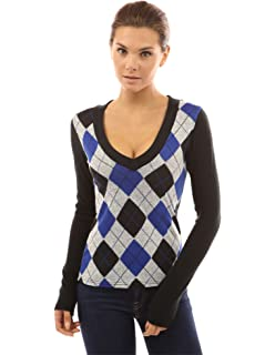 Amazon.com: Women's Argyle Golf Sweater Vest - White/Pink/Black ...
