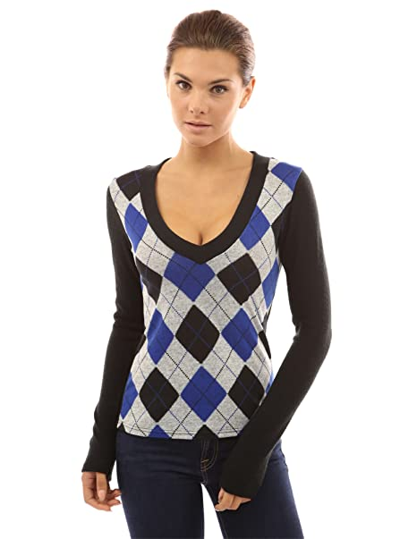 PattyBoutik Mujer v Cuello de Las Damas Camiseta de Manga Larga de Punto (Azul 34