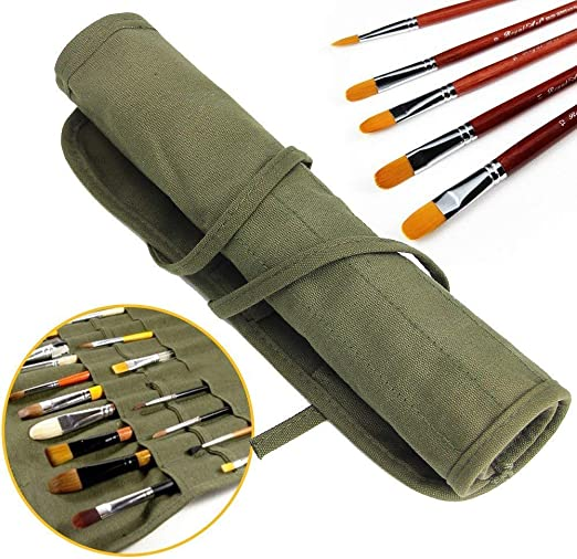 LANGING 1pcs Paint Brush Holder Draw Pen Oil Paint Roll Canvas Pouch with 22 Slots Storage Bag Protection Case