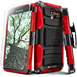 Evocel? Kyocera Hydro View / Hydro Reach Case [Generation Series] Rugged Holster [Kickstand & Belt Swivel Clip] + HD Screen Protector For Kyocera Hydro View (C6742) / Hydro Reach (C6743), Red