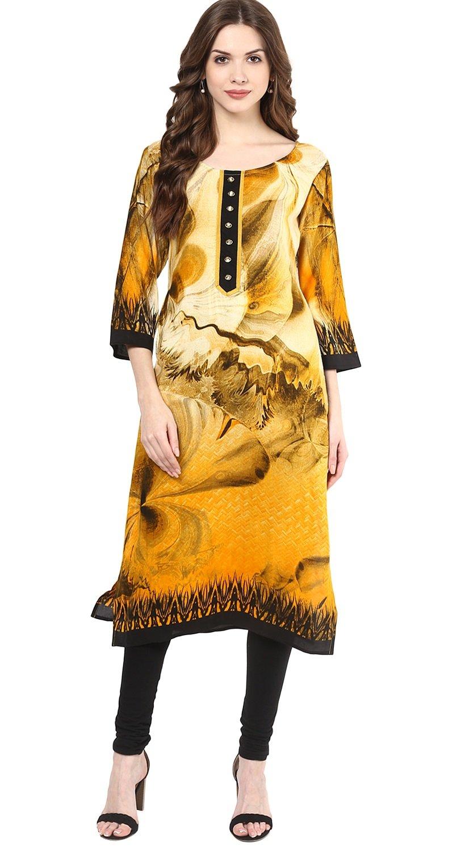 "Lagi Designer Rayon Straight Kurti for Women Printed Tunic Top Round Collar ¾ th Sleeve Dress"" (M-40)"