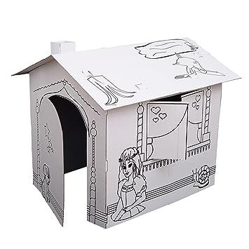 Amazon.com: Kids Folding Cardboard Paper House Coloring Walk in ...