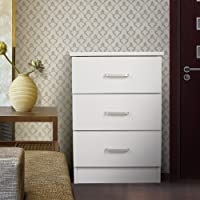 Redfern 3 Drawers Bedside Table/Chest - ( Black / White)