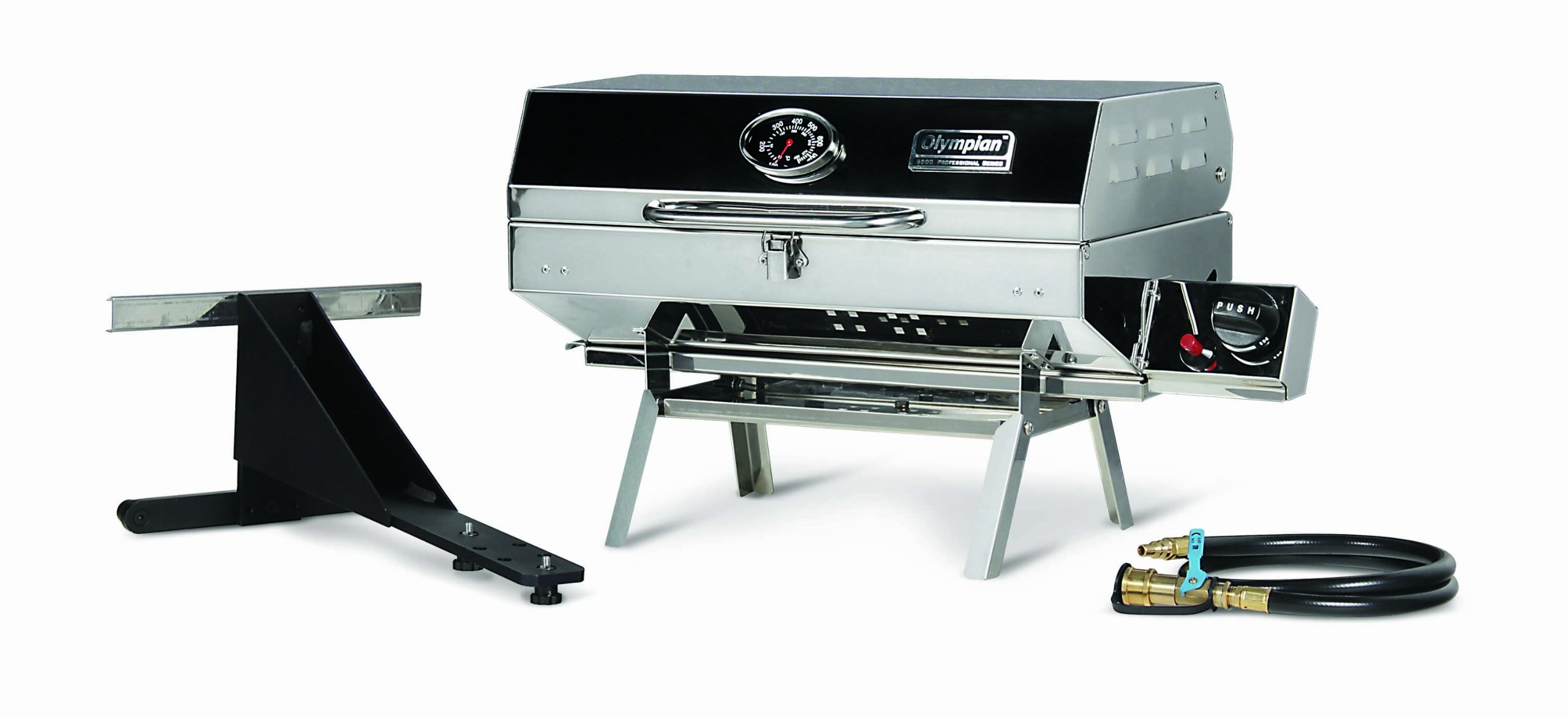 Camco Olympian 5500 Stainless Steel Portable Grill, Connects To Low Pressure Supply On RV, Includes RV Mounting Bracket And Folding Tabletop Legs (180 Square Inches Of Cooking Surface)