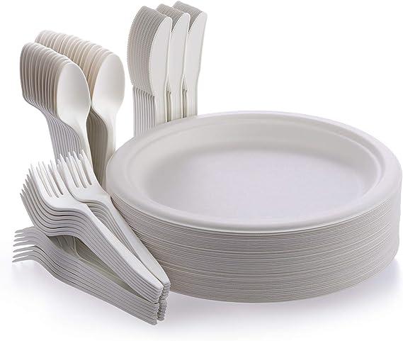 Fuyit Platos Desechables, 200 Piezas Compostables Vajilla, Incluye Biodegradable 50 Platos, 50 Tenedores, 50 Cuchillos y 50 Cucharas para Fiesta, ...