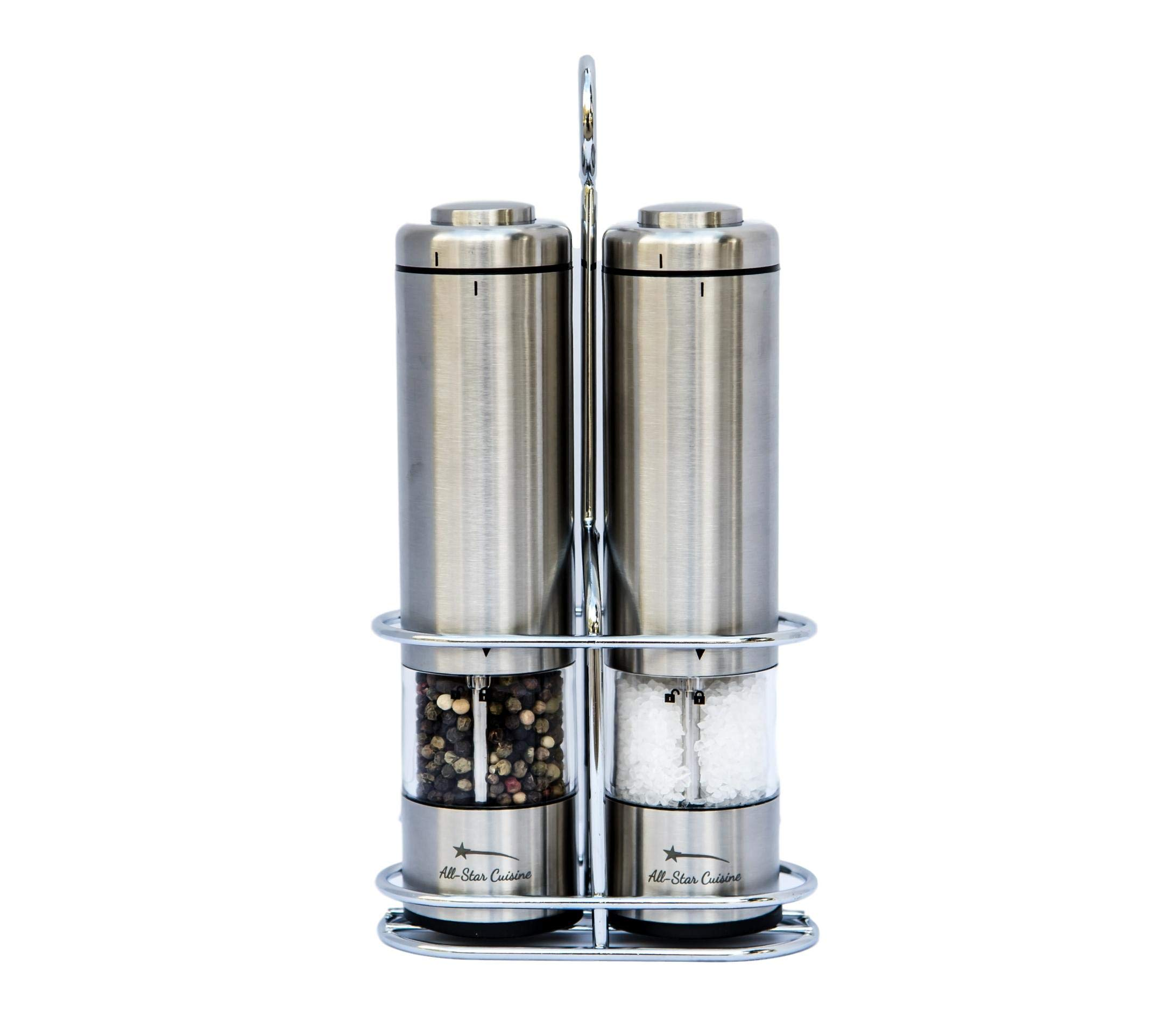 Premium Battery Operated Electric Salt and Pepper Grinder Mill Set of 2 | Adjustable Coarseness | LED Light | Clear Acrylic Core | Complimentary Stainless Steel Holder