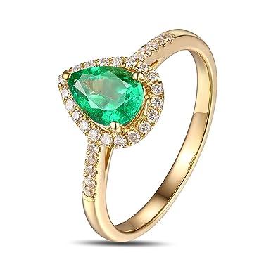 Epinki 18k Oro Anillos para Mujer Gotas Lágrima Anillo Propuesta Matrimonio Anillo de Diamante con Blanco Verde Diamante Esmeralda: Amazon.es: Joyería