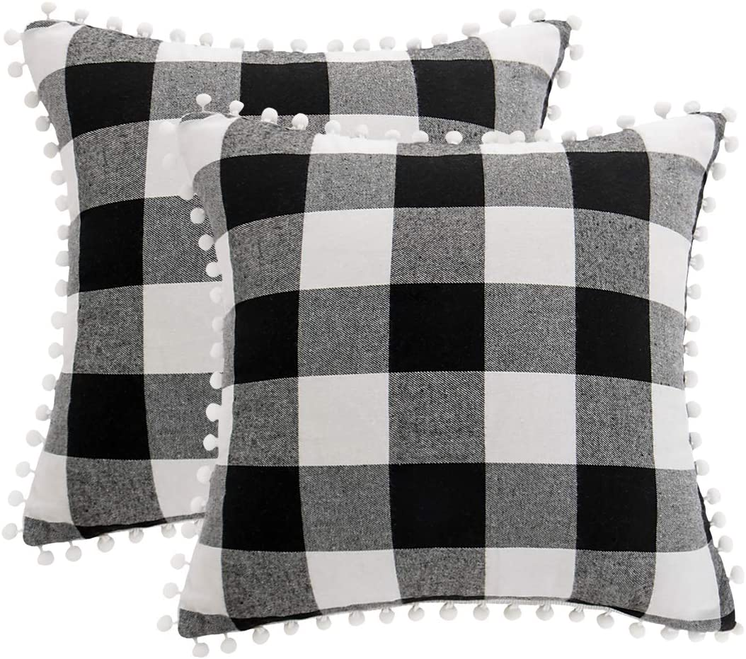 PiccoCasa 2Pcs Buffalo Check Plaid Throw Pillow Covers with Pom-poms, Classic Retro Plaid Cushion Covers, Decorative Sofa Pillow Cases for Home Decor, 18 x 18 Inch, Black and White