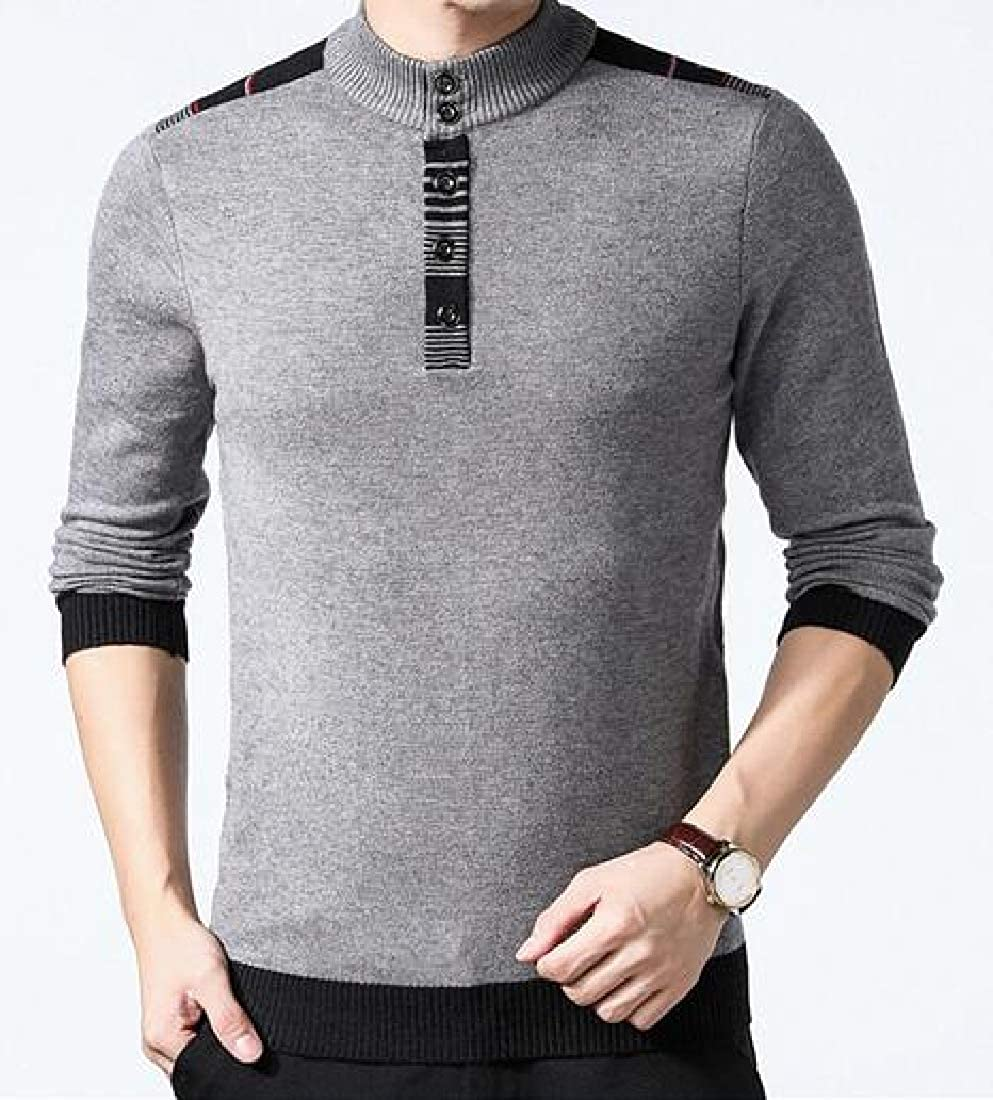 ARTFFEL Mens Long Sleeve Stand Collar Slim Knitted Casual Business Pullover Sweaters