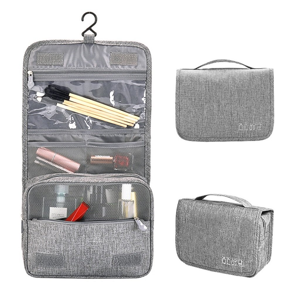 Travel Toiletry Bag hanging travel bag portable waterproof toiletries with clear cosmetic make up organizer kit for women man baby family for travel vocation business Grey