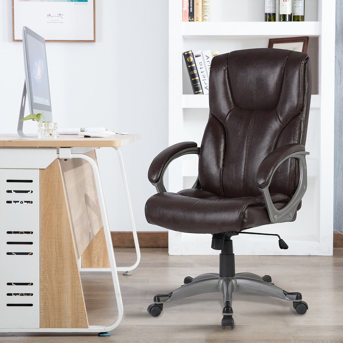 B2C2B Ergonomic Leather Swivel Executive Chair Home Office Computer Task Chair Adjustable Desk Chair (red-Brown)