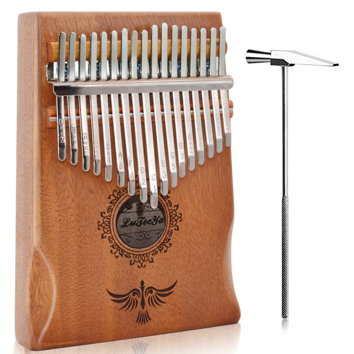 LuTecYa Kalimba Thumb Piano 17 Keys Easy-to-play Finger Piano Mbira Solid Mahogany Wood - Calibrating Tune Hammer and Storage Bag
