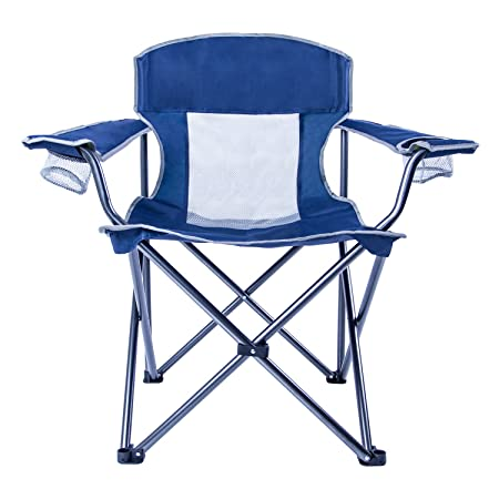 LCH Outdoor Camping Chair Oversized Support 300lbs Folding Padded Chair Mesh Back Heavy Duty Comfort with Two Cup Holders and Armrest Portable with Carry Bag
