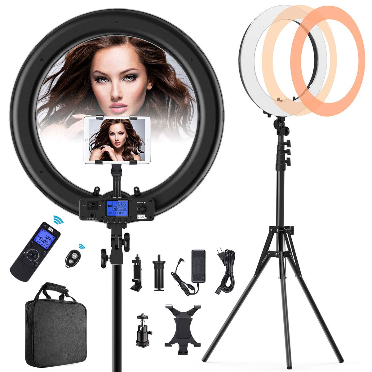 Ring Light with Wireless Remote and iPad Holder, Pixel 19'' Bi-Color LCD Display Ring Light with Stand and Selfie Remote, 55W 3000-5800K CRI≥97 Light Ring for Vlogging Portrait Makeup Video Shooting