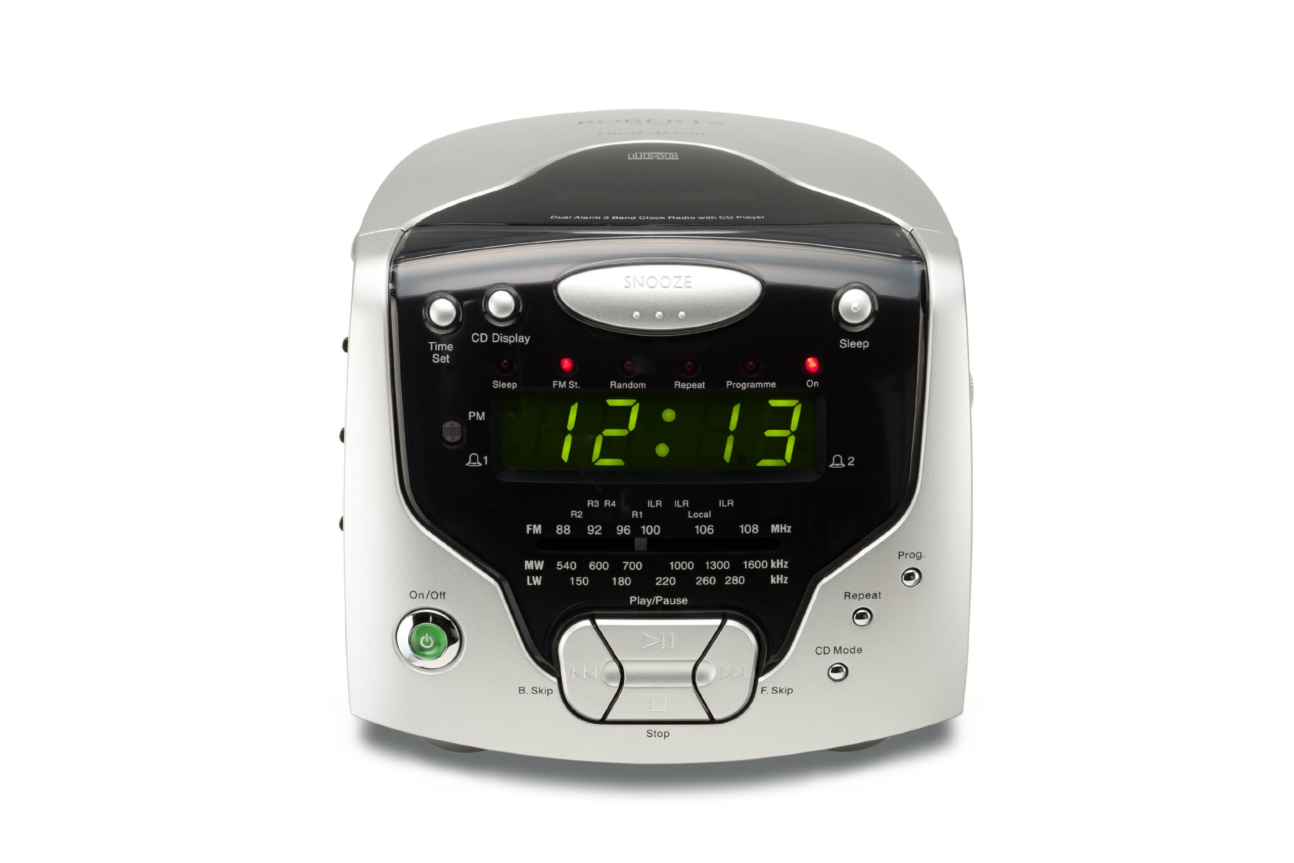 roberts radios 3 band dual alarm stereo clock radio with cd player cd new ebay. Black Bedroom Furniture Sets. Home Design Ideas