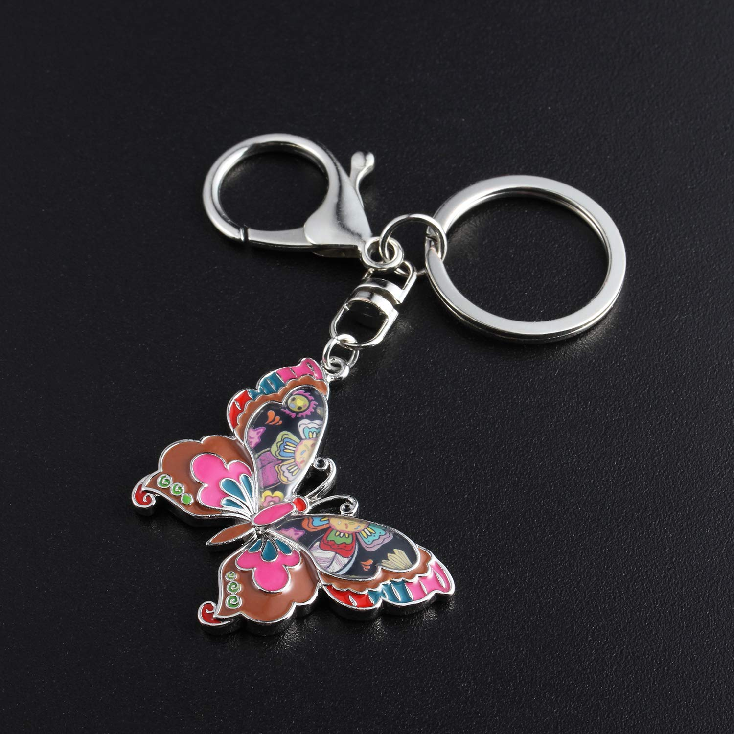 Luckeyui Multicolor Butterfly Keychains Women Unique Colorful Enamel Insect Keyring Gifts by Luckeyui (Image #2)