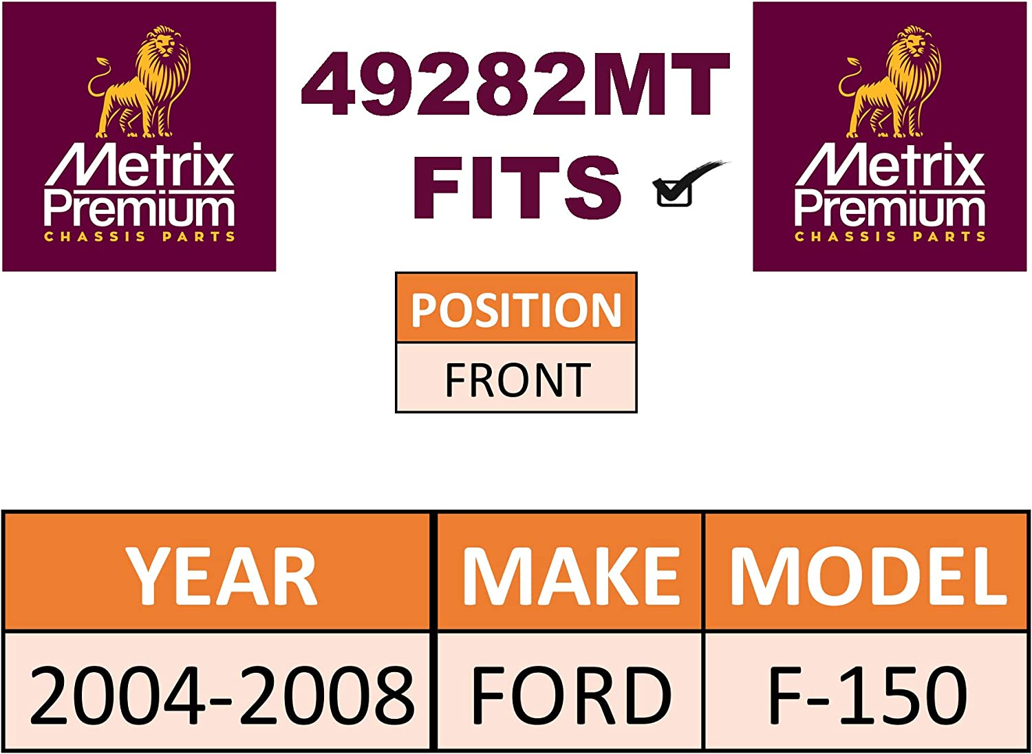 2004-2008 FORD F-150 METRIX PREMIUM 49282MT Front Sway Bar Bushing Kit For K200331 Made in TURKEY