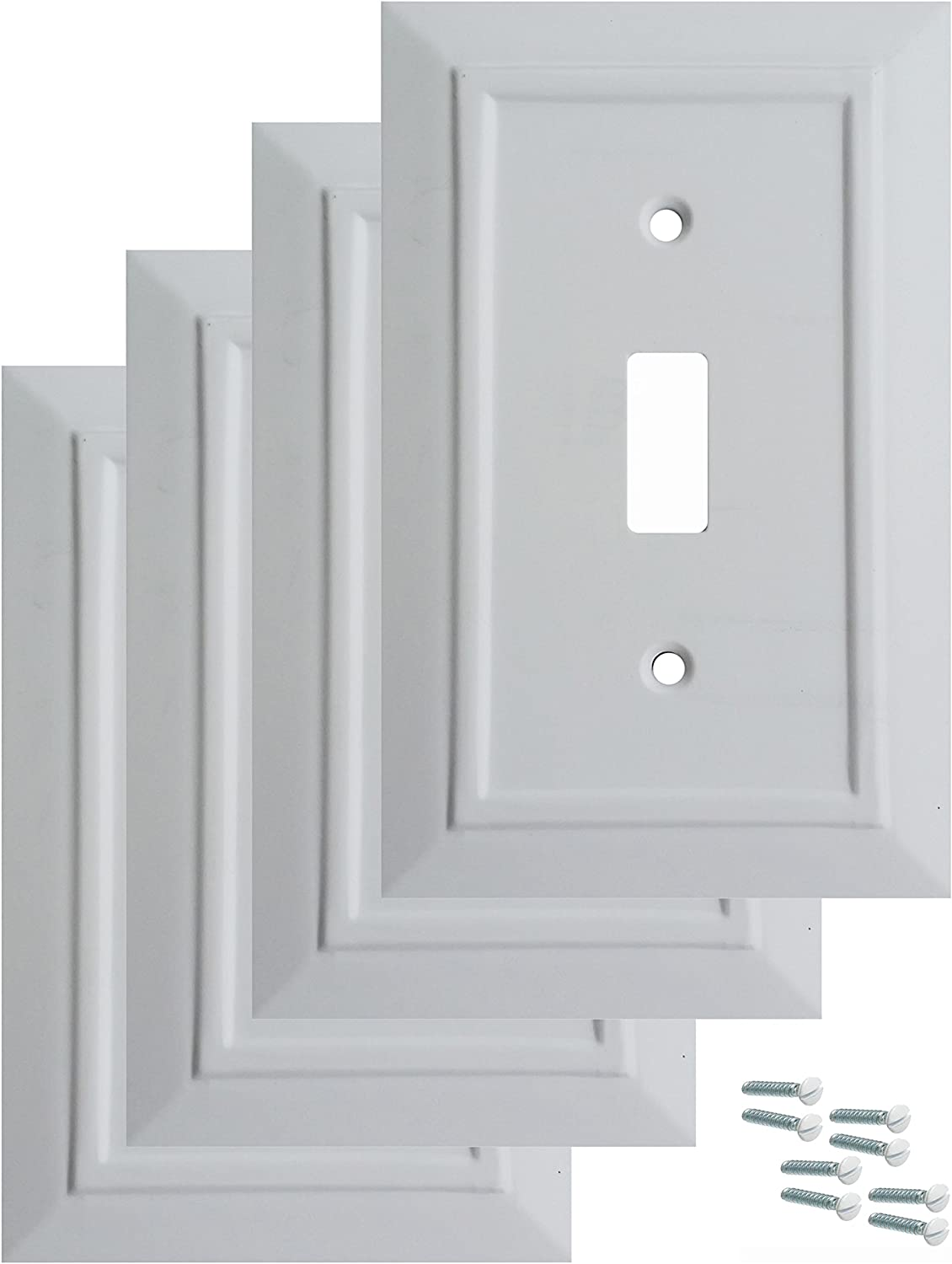 Pack of 4 Wall Plate Outlet Switch Covers by SleekLighting   Classic Architecture Wall plates  Variety of Styles: Decorator/Duplex/Toggle/Blank/& Combo   Size: 1 Gang Toggle