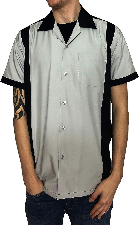 Gris Rockabilly Fashions Camisa con botones informales para hombre de los a/ños 50 1960 Vintage Retro Bowling Negro