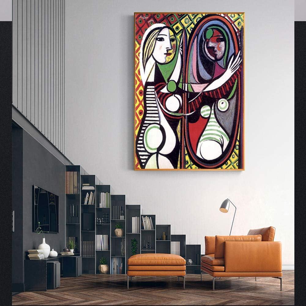 Anytumep Mujer sentada en un sillón en la Pared con reproducción artística de Lienzo de reproducción de la Imagen de la Sala Cuadros 60x90cm