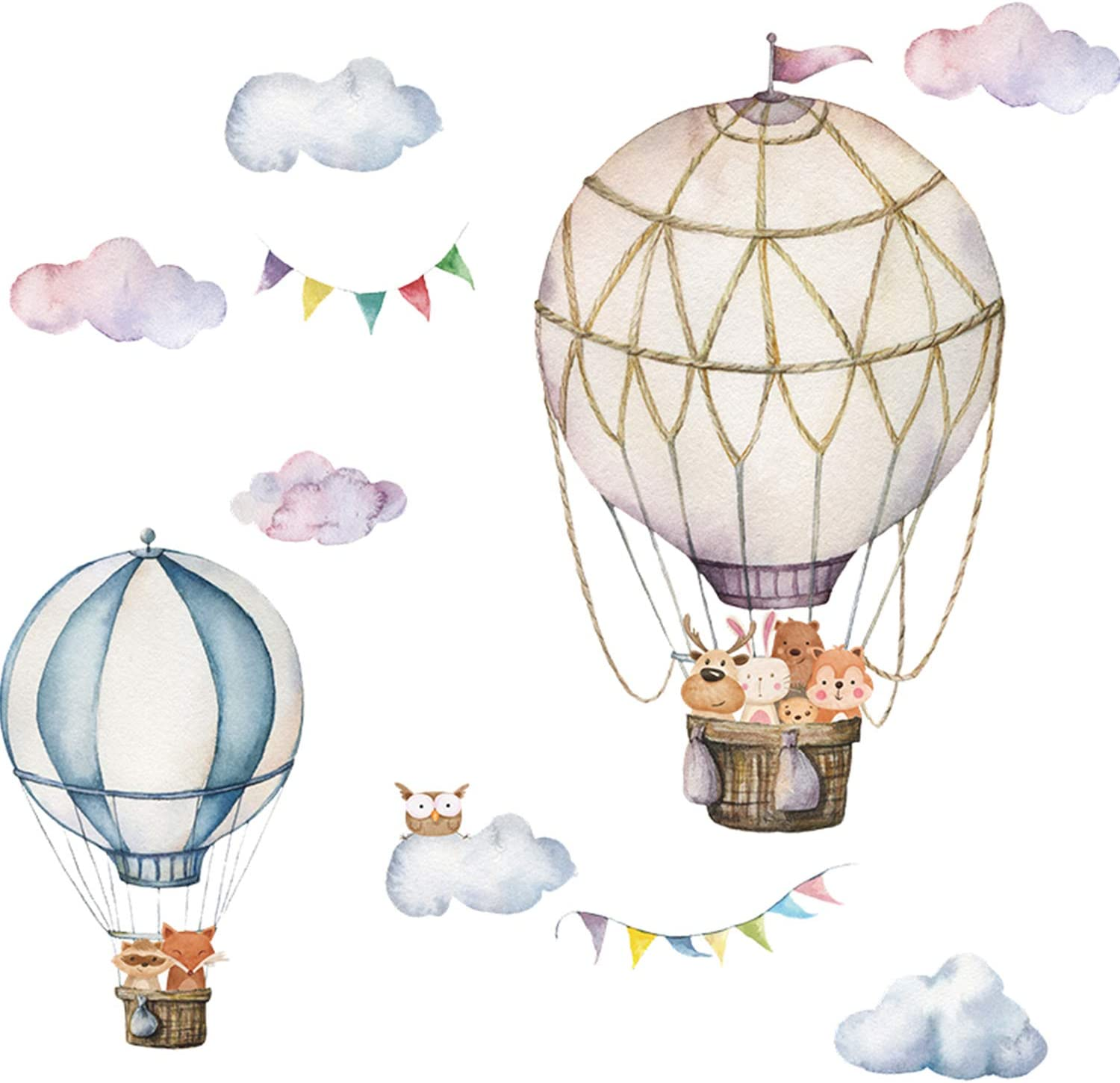 Hot Air Balloon Wall Decals - Wall Stickers for Kids Room Removable Peel and Stick Balloons School Home Decor in Living Room Bedroom Nursery