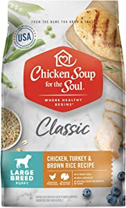 Chicken Soup for the Soul Pet Food - Large Breed Puppy - Chicken, Turkey & Brown Rice Recipe Dry Dog Food- Soy, Corn & Wheat Free, No Artificial Flavors or Preservatives