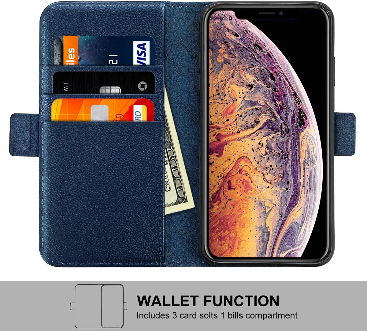 Genuine Cowhide Leather Case 6.5 Inch Cash Pockets Kickstand Compatible iPhone 11 Pro Max Card Holder Slots Purple Magnetic Clousure Slim Flip Folio Cover AZOFO iPhone 11 Pro Max Wallet Case