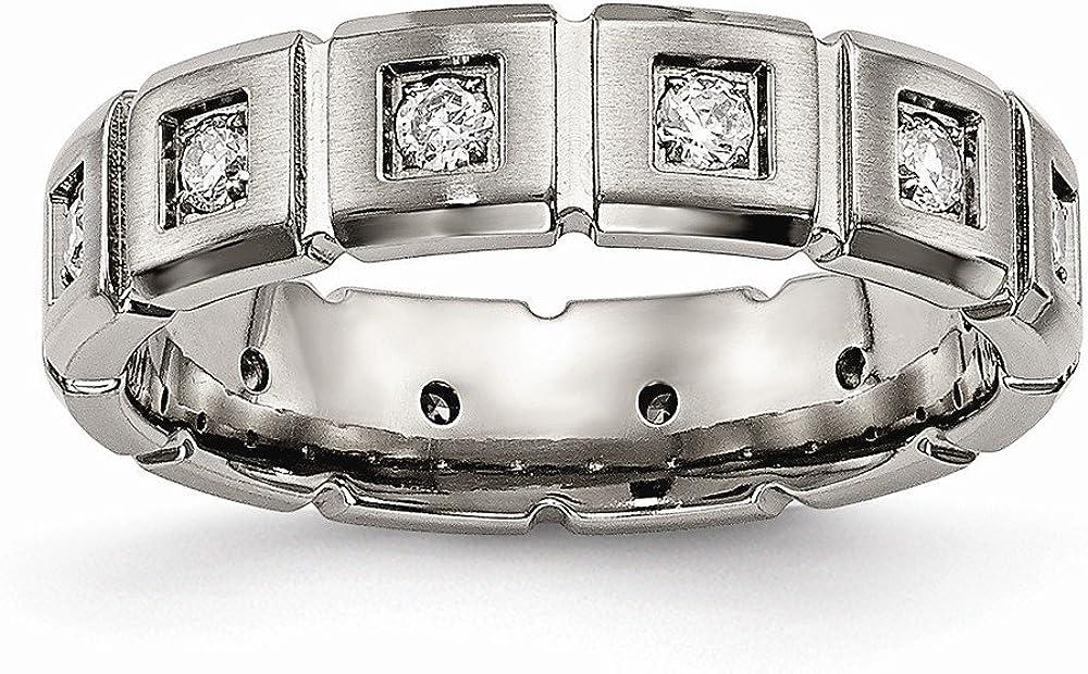 Bridal Wedding Bands Decorative Bands Titanium Brushed//Polished Grooved CZ Ring Size 6.5