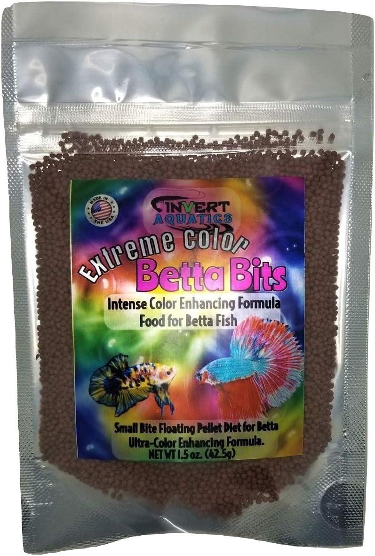 Invert Aquatics Extreme Color Betta Bits - Ultra-Color Enhancing Floating Pellets Betta Food