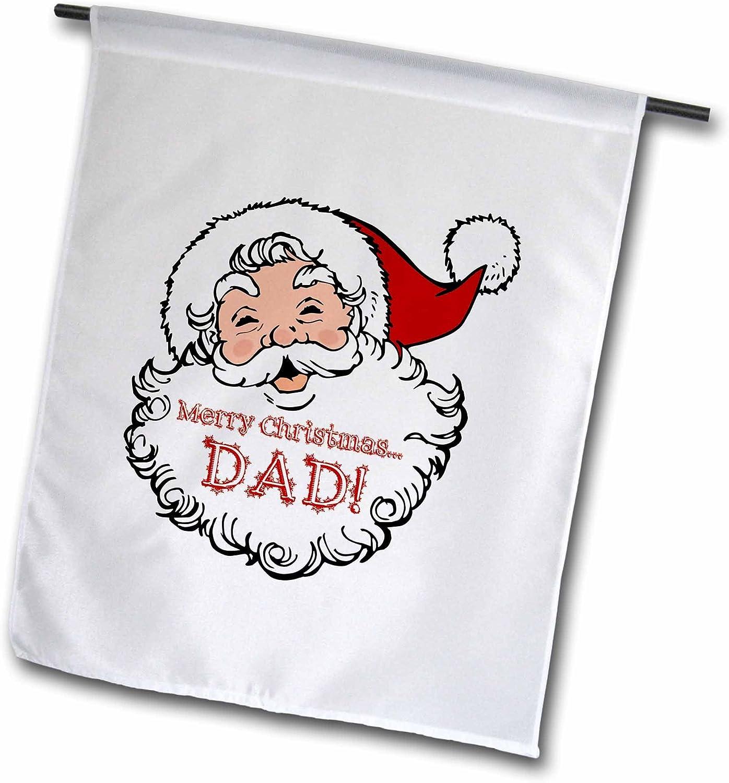 "3dRose fl_261754_1"" Merry Christmas Dad-Funny Laughing Sa Garden Flag, 12"" x 18"""