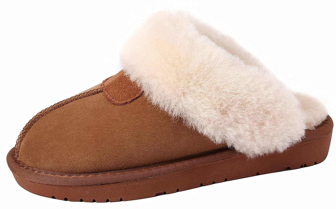 SimpleC Damen Winter Wärme Suede Shearling Leicht Hausschuhe Weicher Plüsch Flip Flops/Mules Slippers Pantoffeln Kastanie ( Chestnut Rindsleder Suede)