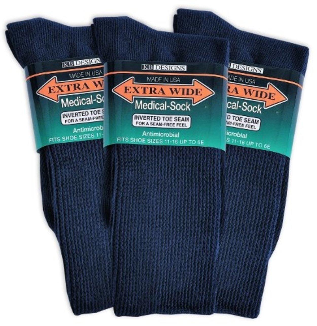 Extra Wide Medic Socks 11/16 6 pair for 48.99 (Navy)