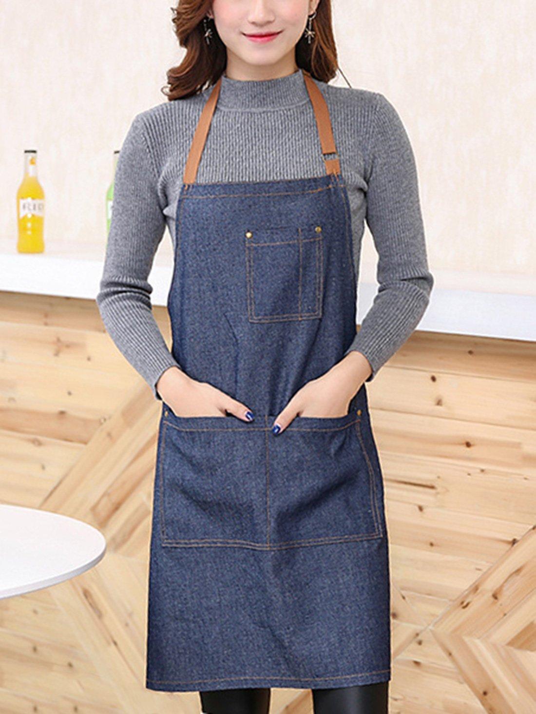 ecae4f08d1e Aivtalk - Delantal Cocina Demin Delantal de Trabajo con Bolsillos para  Cocinero Camarero Servidor - Azul Vaquero: Amazon.es: Hogar