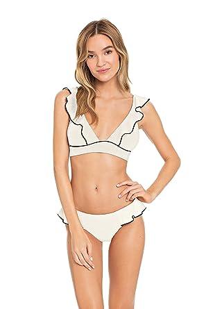 e76dab96e1 Robin Piccone Women's Malia Tab Side Hipster Bikini Bottom White Sand/Black  XS