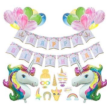 Unicornio Feliz Cumpleaños Suministros Para La Fiesta 1 ...