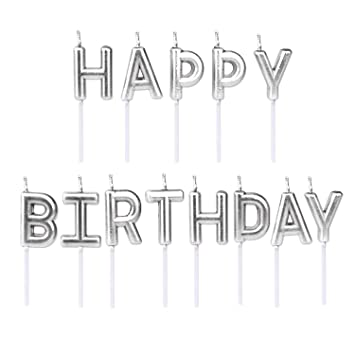 Olen Silver Birthday Candles For Cake Happy Letter