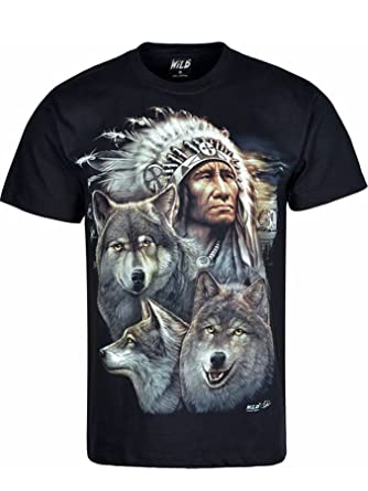 60a61b7a Wild Mens Native American Indian Wolf Biker t-Shirt: Amazon.co.uk: Clothing