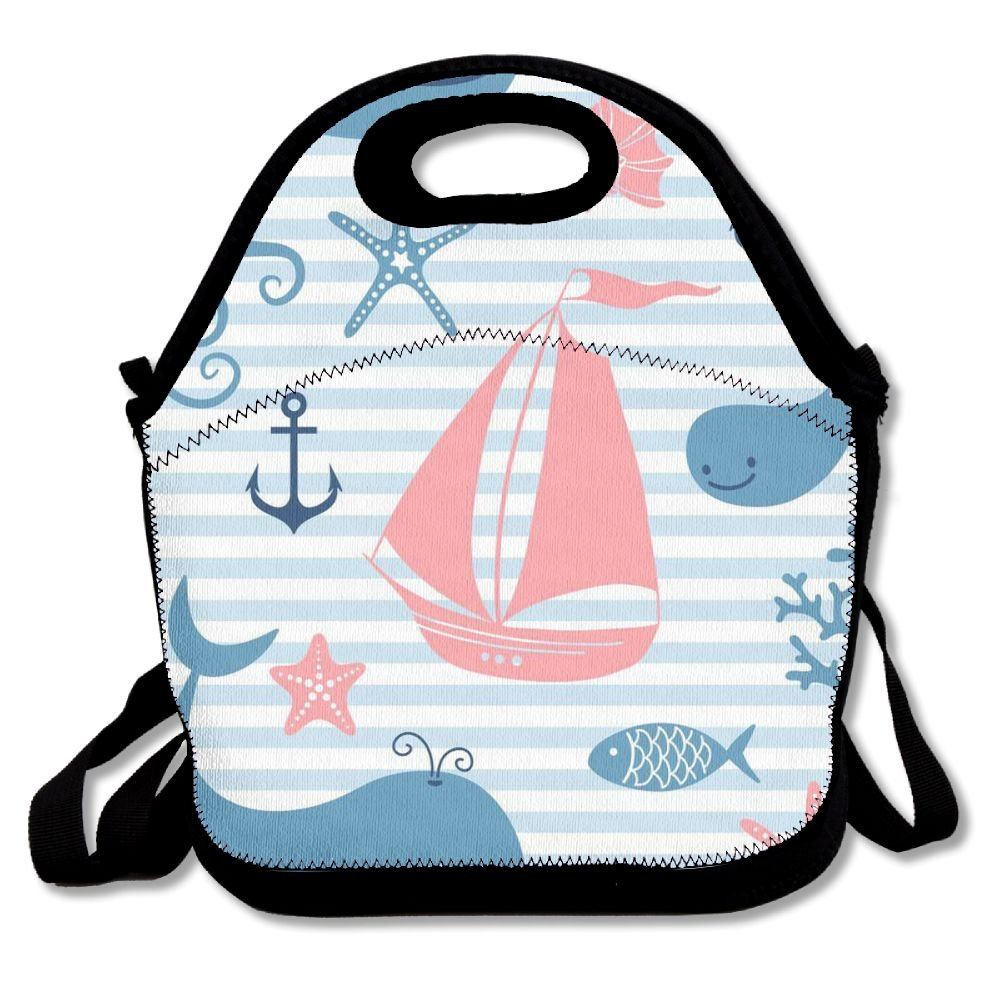 WANING MOON Lunch Box Sea Animals And Boats Lunch Bag Insulation Picnic Bag With Adjustable Strap