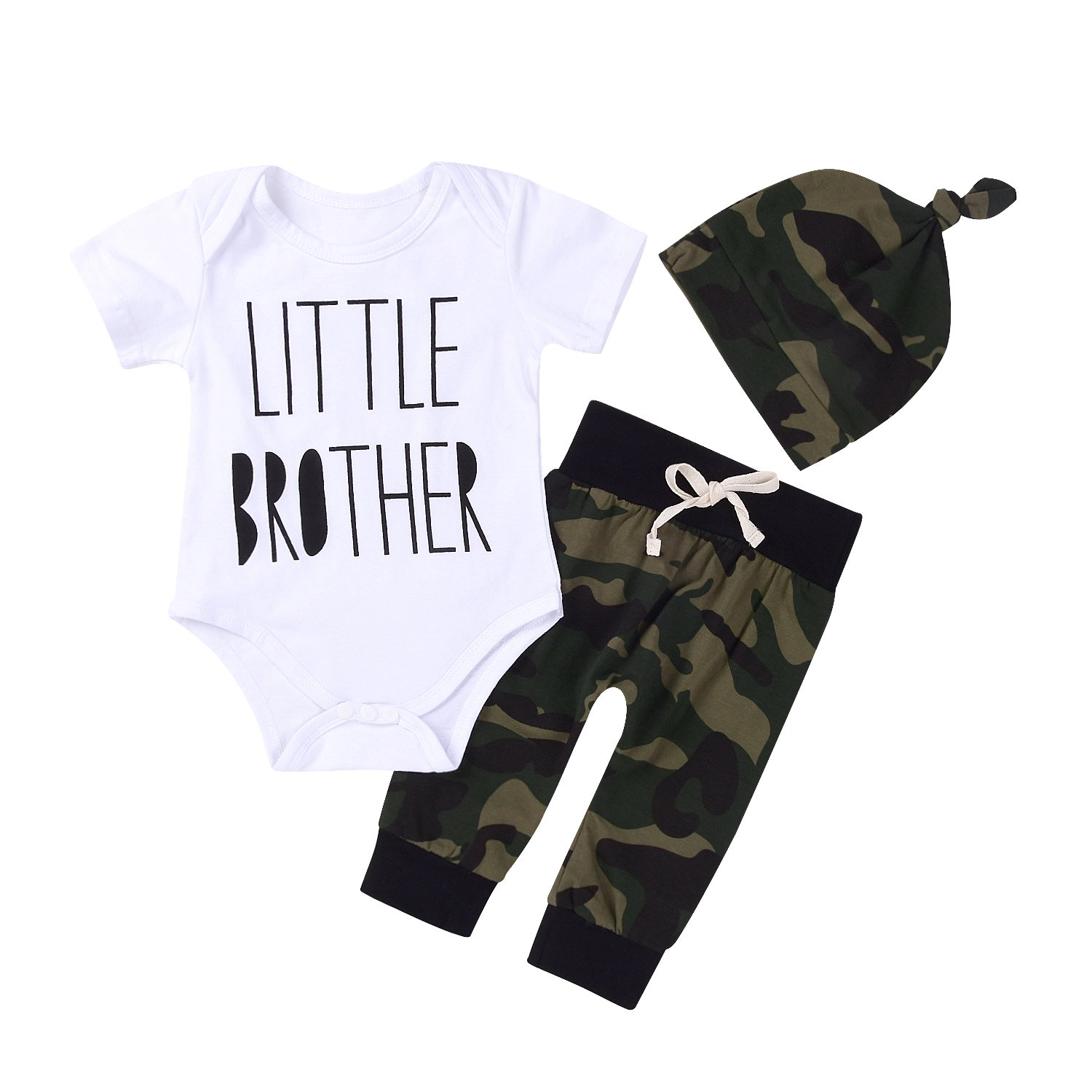 3Pcs Baby Boys Little Brother Camouflage Romper Tops+Pants Leggings+ Hat Outfits Set (0-6M(Tag70), White&camouflage)
