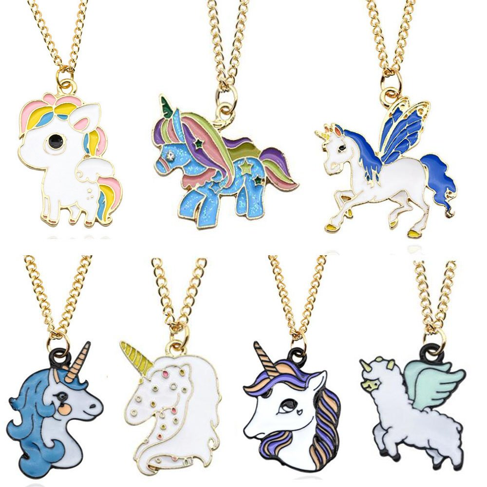 Sakolla Set of 7 Rainbow Unicorn Necklace Unicorn Party Supplies Party Favors Animal Necklace Birthday