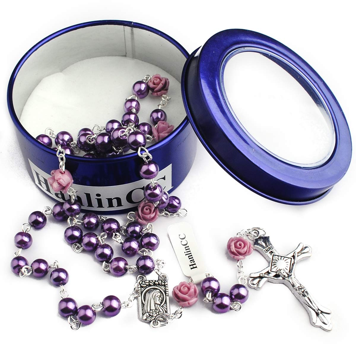 Hedi 6mm Purple Color Pearl Beads Rosary with 6pcs Our Rose Our Facther Beads