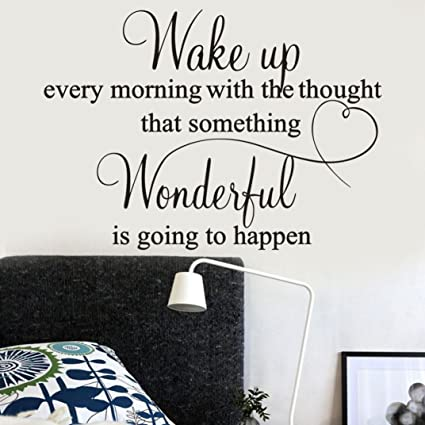 Vacally Wall Decor Stickers Letter Wake Up Every Morning Removable