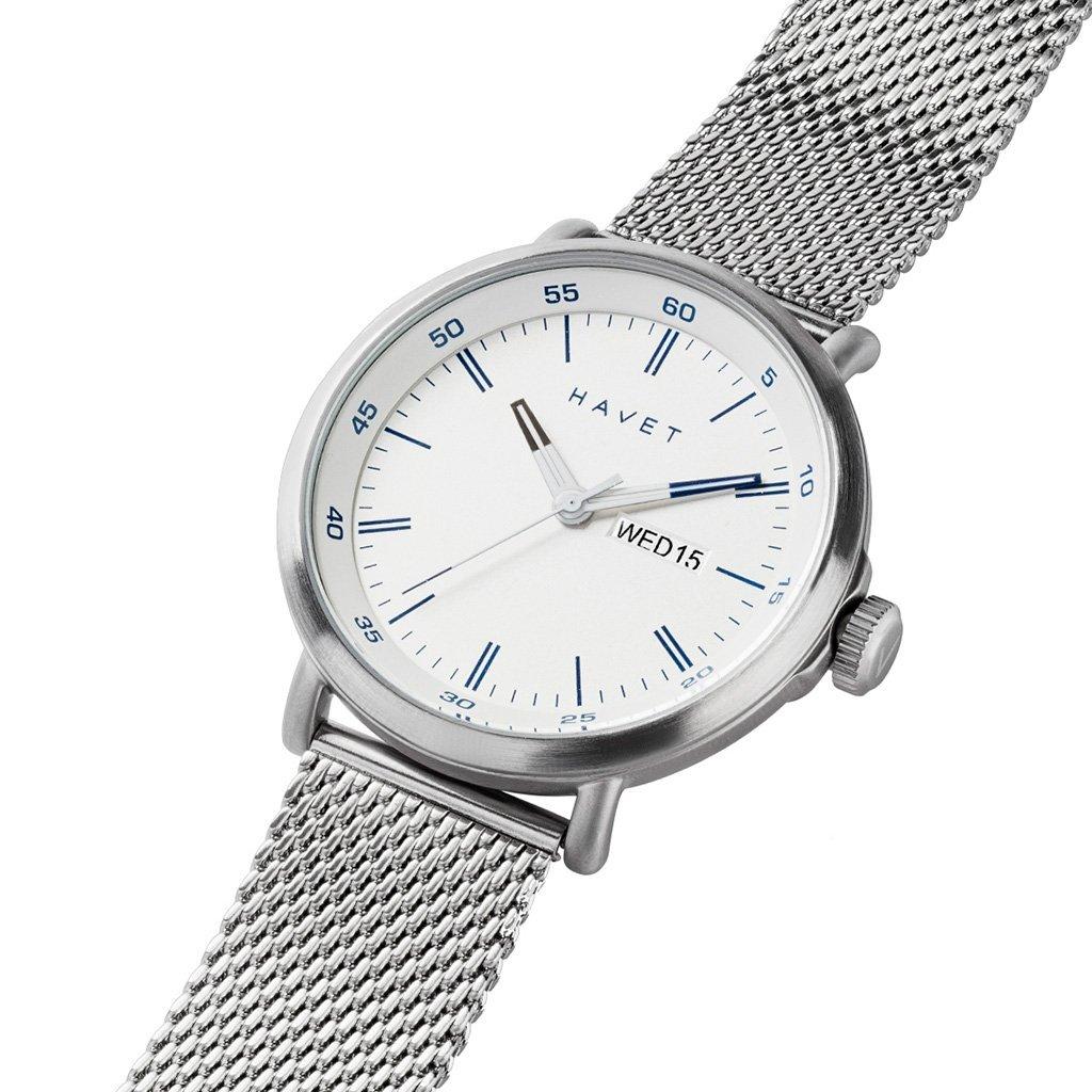 HAVET | Reloj de hombre Stabben de acero con esfera blanca con brazalete de malla: Amazon.es: Relojes