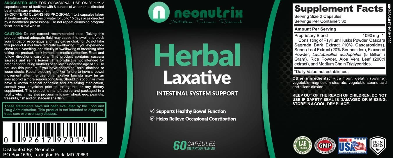Natural Laxative Psyllium Husk Capsules Constipation Relief & Healthy Bowel Movement Colon Cleanse & Detox Herbal Laxative - Men & Women- 60 Capsules - by Neonutrix - Made in USA: Health & Personal Care