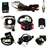 Complete Electrics Wiring Harness Stator Coil CDI Solenoid Relay Spark Plug For 4 wheelers Stroke ATV (50cc 70cc 110cc…