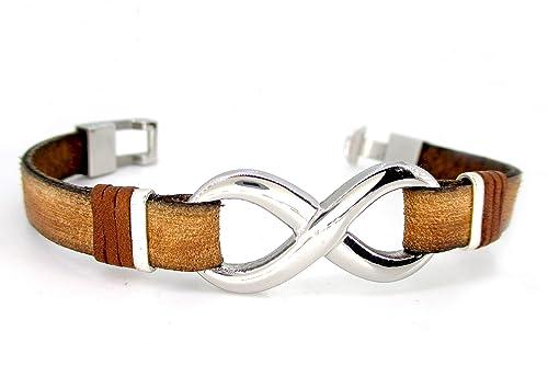 Pulsera Infinito plata y acero inoxidable, N2, brazalete de cuero marrón, pulsera cuero hombre, accesorios de cuero unisex, regalos para hombre, símbolo infinito, regalo aniversario: Amazon.es: Handmade