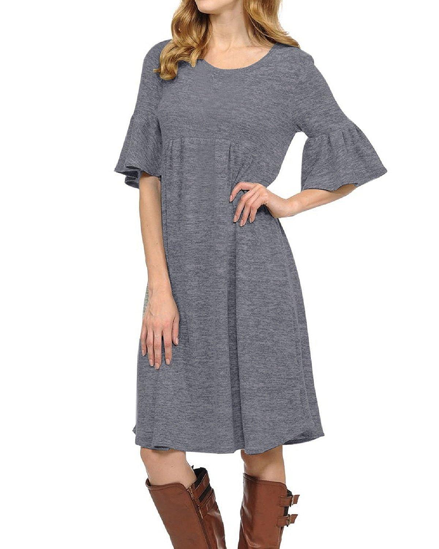 CNFIO Sommerkleid Rundhals Kurzarm Damen Mini Kleid Sommer Locker Oversize Langes Kleid