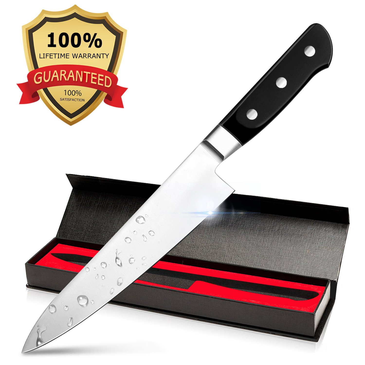 Bodyguard 8 Inch Chef's Knife - High Carbon Stainless Steel Sharp Blade Balanced Comfortable Handle with Gift Case Multipurpose Kitchen Knife for Home and Restaurant by Bodyguard