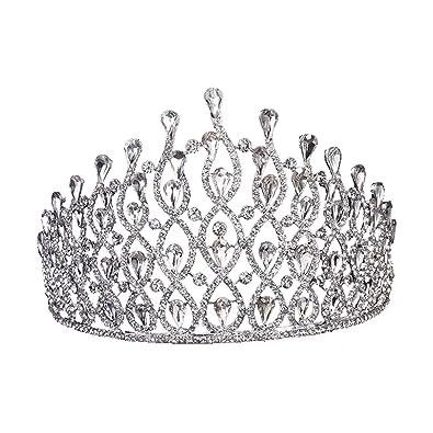 Herzii Wedding Crystal Rhinestone Pageant Birthday Princess Tiara Crown Headband for Brides Girls nIt3hjws0I